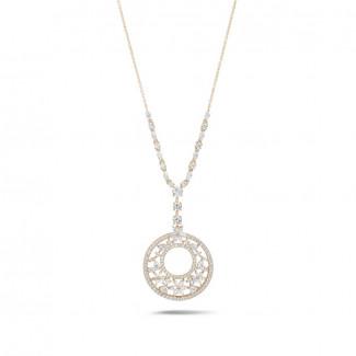 Halsketten aus Rotgold - 8.00 Karat Halskette aus Rotgold mit runden, Marquise, Tropfen und Herz Diamanten