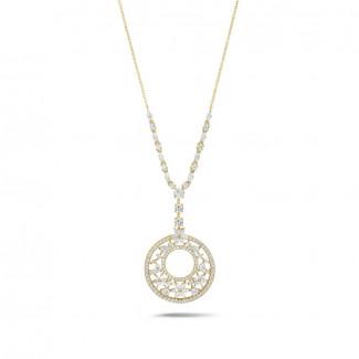 Gelbgold - 8.00 Karat Halskette aus Gelbgold mit runden, Marquise, Tropfen und Herz Diamanten
