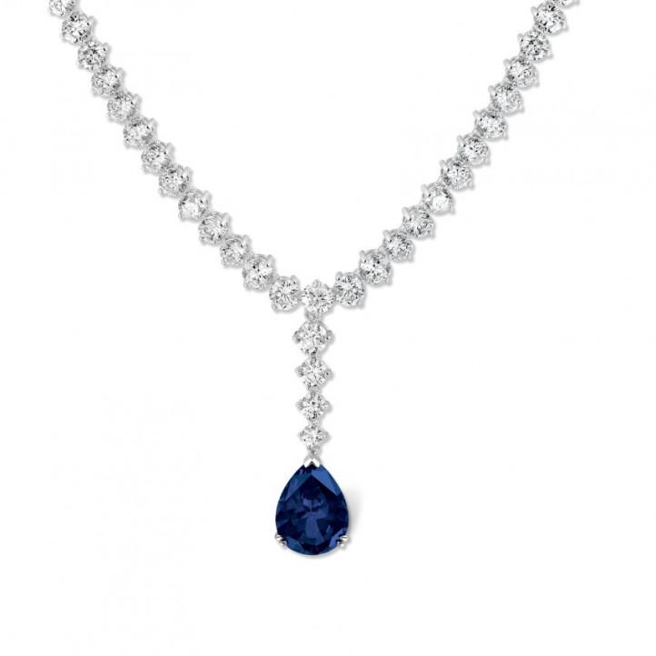 27.00 Karat sich verjüngende Diamant Halskette aus Weißgold mit tropfenförmigem Saphir