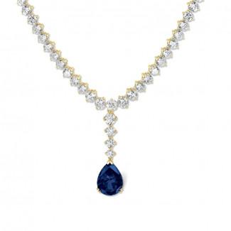Halsketten aus Gelbgold - 27.00 Karat sich verjüngende Diamant Halskette aus Gelbgold mit tropfenförmigem Saphir