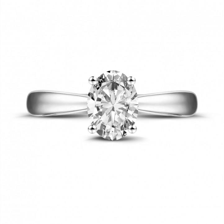 1.20 Karat Solitärring aus Platin mit ovalem Diamant