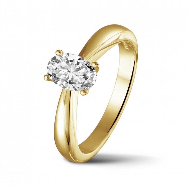 0.58 Karat Solitärring aus Gelbgold mit ovalem Diamant