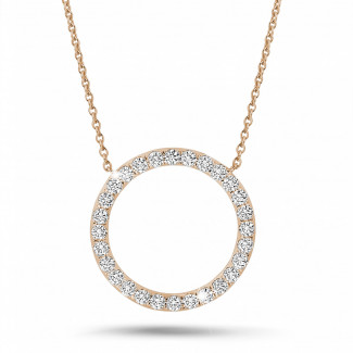 Halsketten - 0.54 Karat Diamant Eternity Halskette aus Rotgold