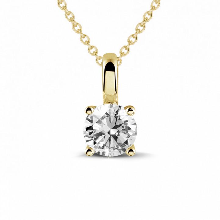 0.50 Karat Solitär Anhänger aus Gelbgold mit rundem Diamant und 4 Krappen