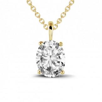 Halsketten - 1.90 Karat Solitär Anhänger aus Gelbgold mit ovalem Diamant