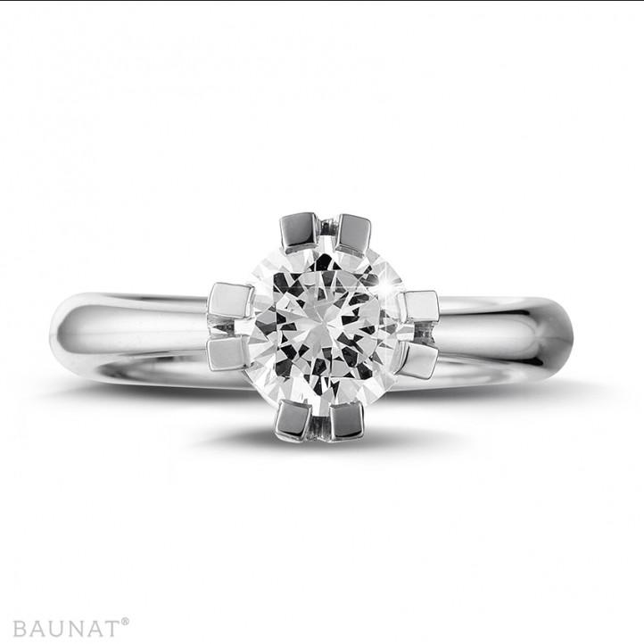 1.50 Karat diamantener Solitär Designring aus Platin mit acht Krappen