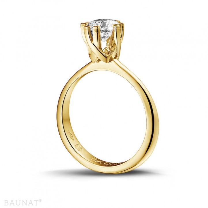 0.90 Karat diamantener Solitär Designring aus Gelbgold mit acht Krappen