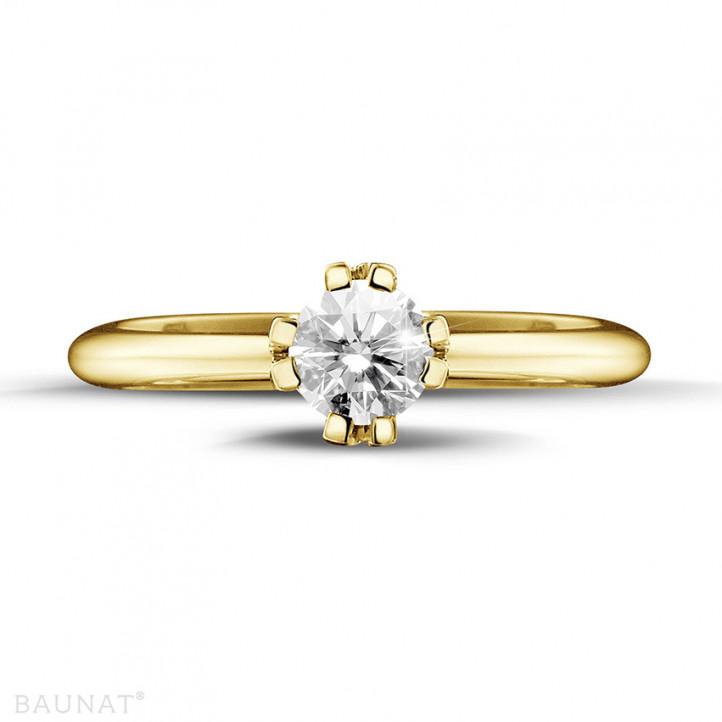 0.50 Karat diamantener Solitär Designring aus Gelbgold mit acht Krappen