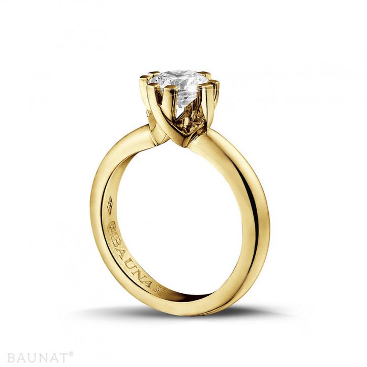 1.25 Karat diamantener Solitär Designring aus Gelbgold mit acht Krappen