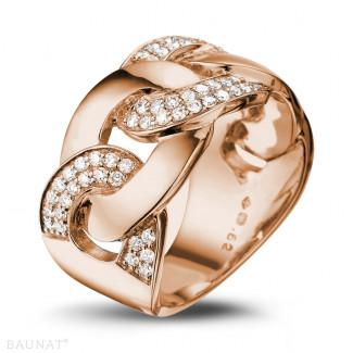 Diamantringe aus Rotgold - 0.60 Karat Diamantring mit Gourmet-Kettenglied aus Rotgold