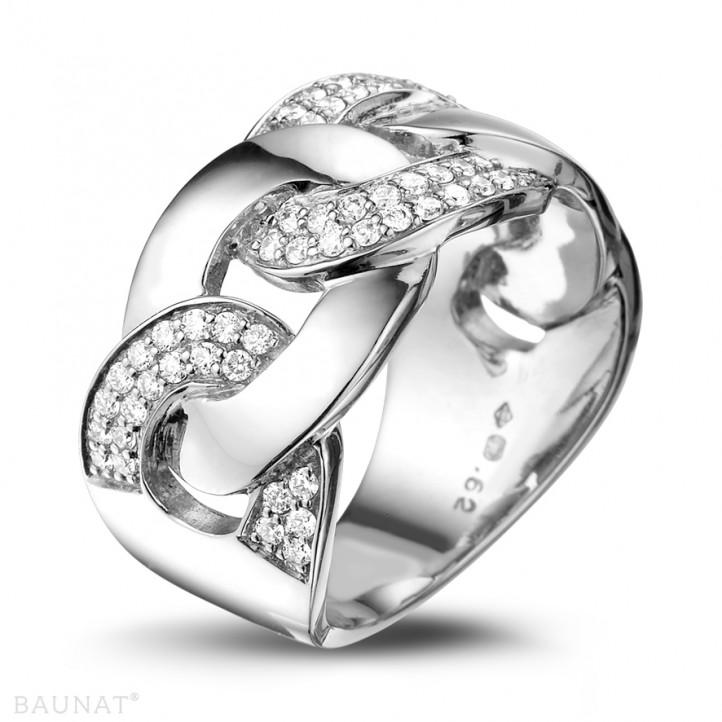 0.60 Karat Diamantring mit Gourmet-Kettenglied aus Weißgold