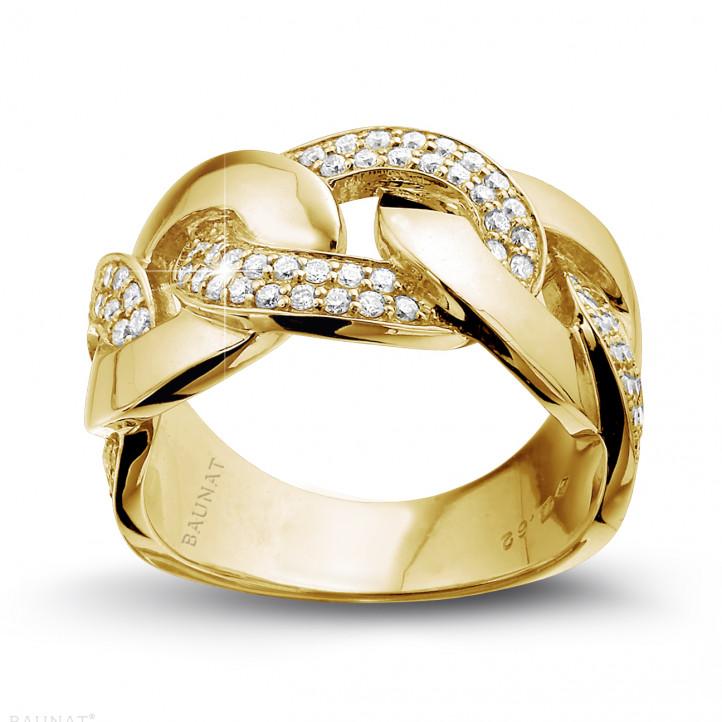 0.60 Karat Diamantring mit Gourmet-Kettenglied aus Gelbgold