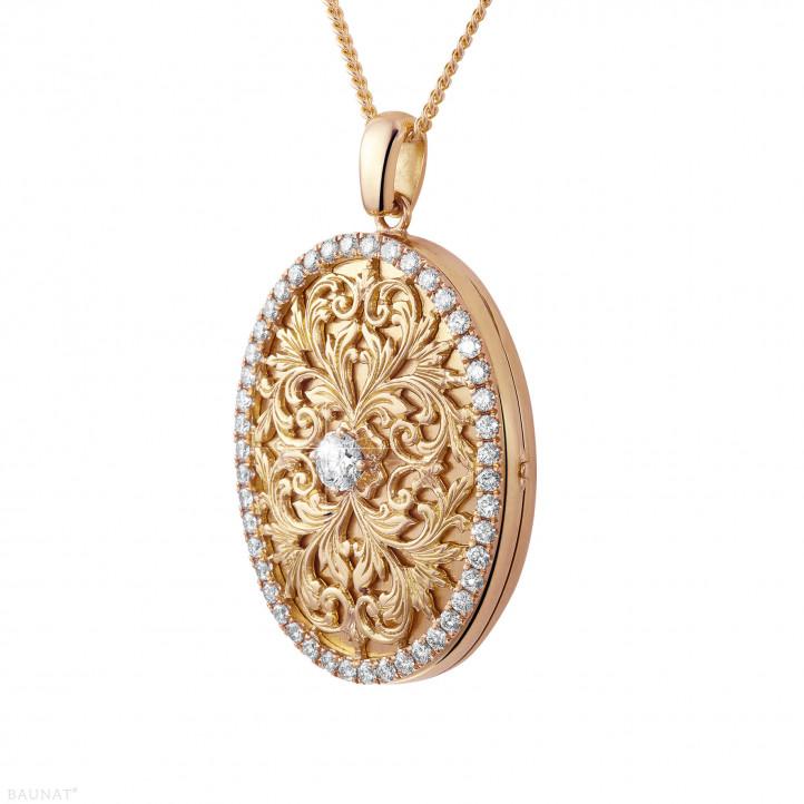 1.70 Karat Design Medaillon mit kleinen runden Diamanten aus Rotgold