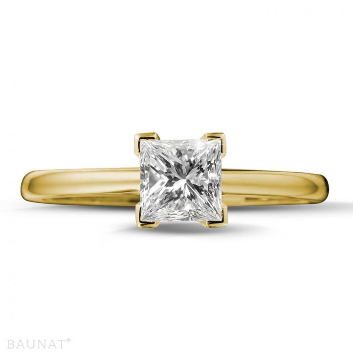 1.00 Karat Solitärring in Gelbgold mit Prinzessdiamanten