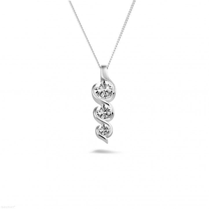 0.85 Karat Trilogie Diamantanhänger aus Platin
