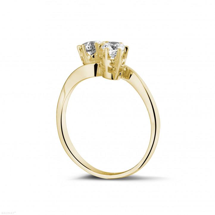 0.50 Karat diamantener Toi & Moi Ring aus Gelbgold