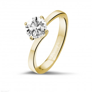 Verlobung - 0.90 Karat diamantener Solitärring aus Gelbgold
