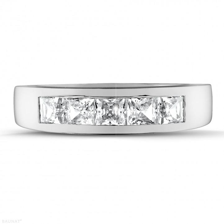 1.35 Karat Memoire Ring mit Prinzessdiamanten aus Platin