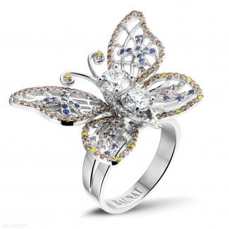 Diamantringe aus Weißgold - 2.00 Karat Design Schmetterlingring aus Weißgold mit cognacfarbigen Diamanten und Saphir