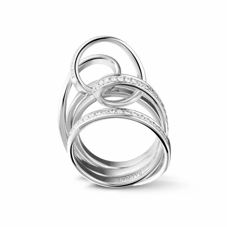 0.77 carat diamond design ring in white gold