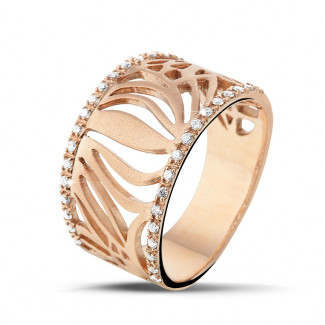 Red Gold Diamond Rings - 0.17 carat diamond design ring in red gold