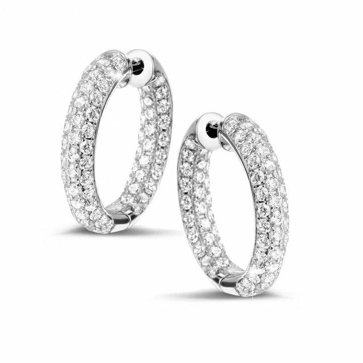 2.15 carat diamond creole earrings in white gold