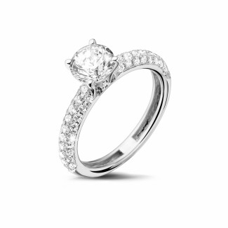 White Gold Diamond Rings - 1.00 carat solitaire ring (half set) in white gold with side diamonds