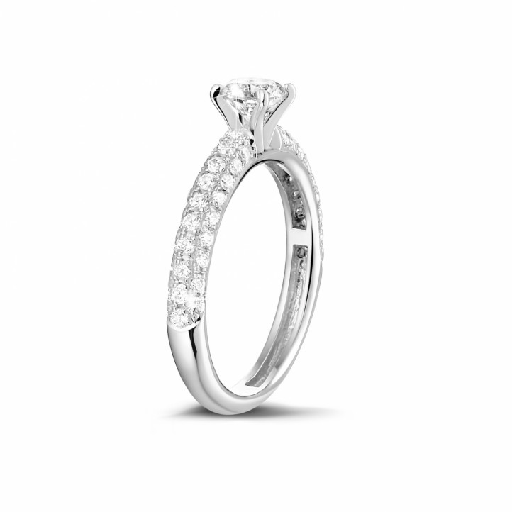 0.50 carat solitaire ring (half set) in white gold with side diamonds