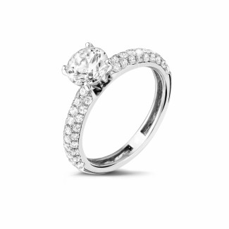 Engagement - 1.20 carat solitaire ring (half set) in platinum with side diamonds