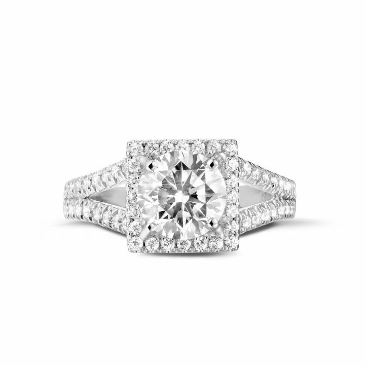 1.50 carat solitaire diamond ring in patinum with side diamonds