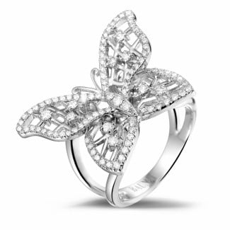 0.75 carat diamond butterfly design ring in white gold