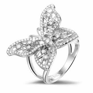 White Gold Diamond Rings - 0.75 carat diamond butterfly design ring in white gold