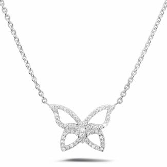 Diamond Pendants - 0.30 carat diamond design butterfly necklace in white gold