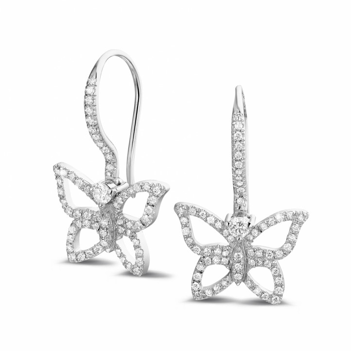 0.70 carat diamond butterfly designed earrings in white gold
