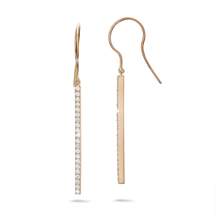 0.35 carat diamond rod earrings in red gold