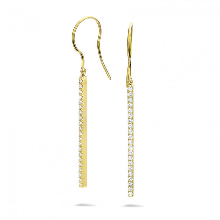 0.35 carat diamond rod earrings in yellow gold