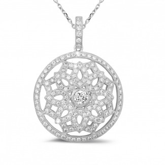 White Gold Diamond Necklaces - 1.10 carat diamond pendant in white gold