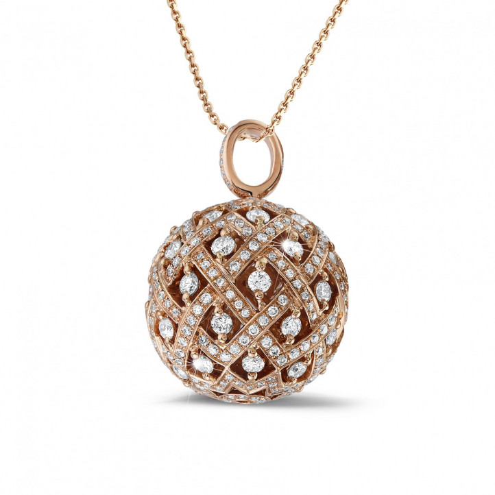 2.00 carat diamond pendant in red gold