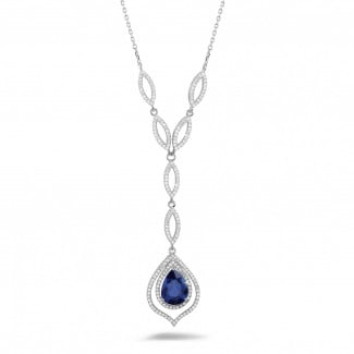 White Gold Diamond Necklaces - Diamond white golden necklace with a pear shaped sapphire of approximately 4.00 carat