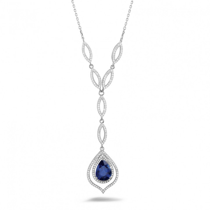 Diamond white golden necklace with a pear shaped sapphire of approximately 4.00 carat