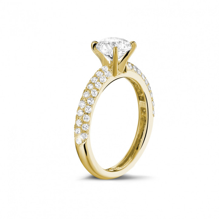 1.50 carat solitaire ring (half set) in yellow gold with side diamonds