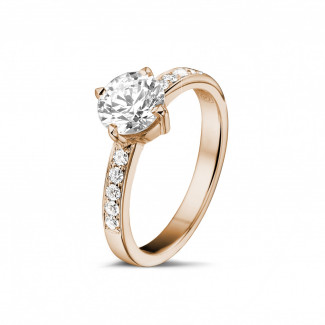 Red Gold Diamond Engagement Rings - 1.00 carat solitaire diamond ring in red gold with side diamonds