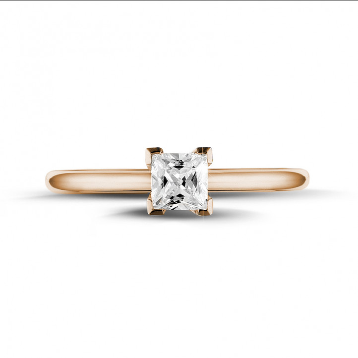 0.50 carat solitaire ring in red gold with princess diamond