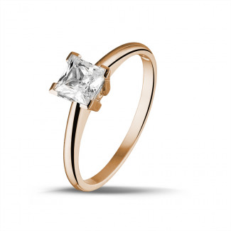 Red Gold Diamond Engagement Rings - 1.00 carat solitaire ring in red gold with princess diamond