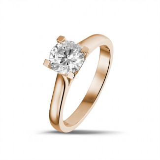 Red Gold Diamond Engagement Rings - 0.90 carat solitaire diamond ring in red gold