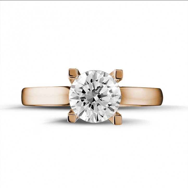 1.25 carat solitaire diamond ring in red gold