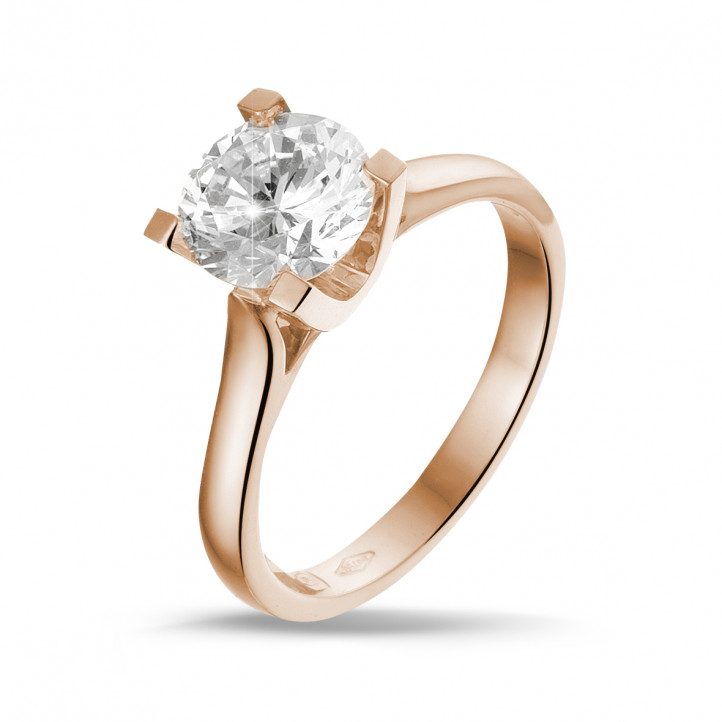 1.50 carat solitaire diamond ring in red gold