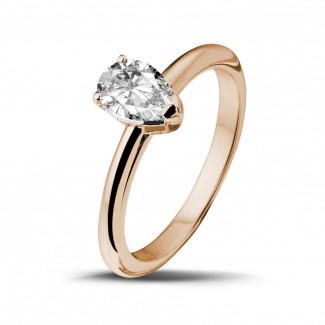 Red Gold Diamond Engagement Rings - 1.00 carat solitaire ring in red gold with pear shaped diamond
