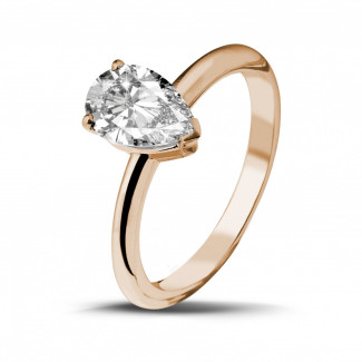 1.50 carat solitaire ring in red gold with pear shaped diamond