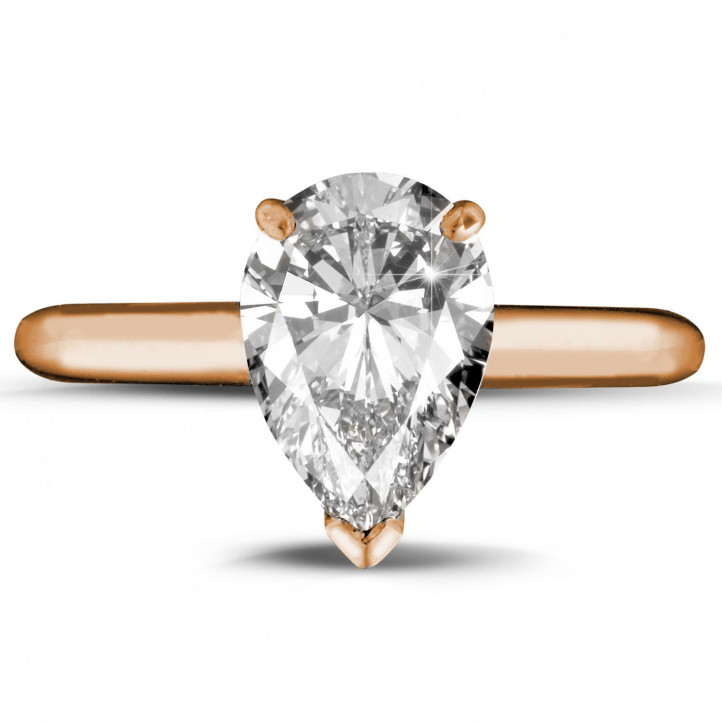 2.00 carat solitaire ring in red gold with pear shaped diamond